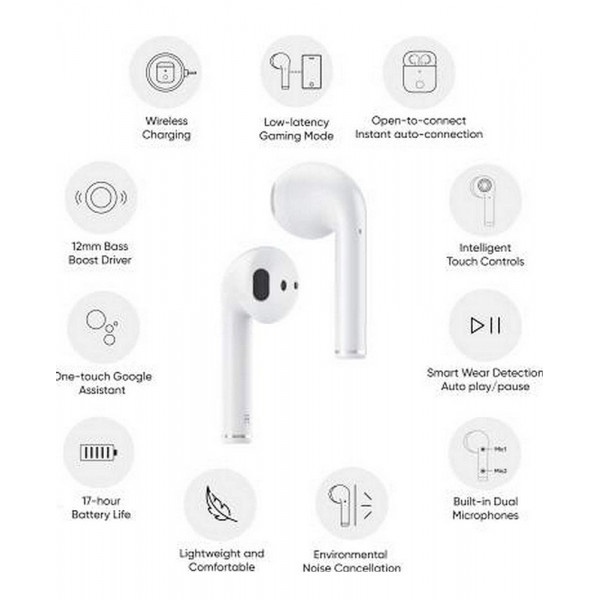 Realme Buds Air Bluetooth Headset with Mic   (White)